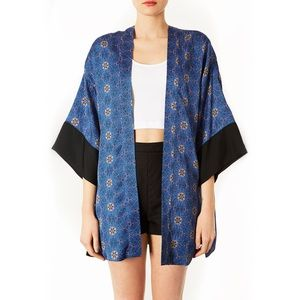 Topshop 'Spider Floral' Cardigan blue black kimono
